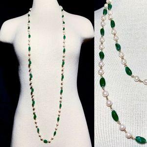 Vintage Art Deco Art Glass Long Flapper Necklace